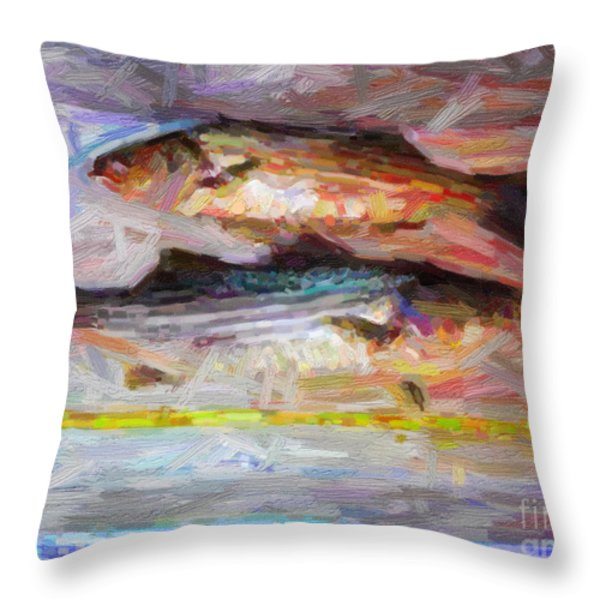 Striped Bass Keepers Throw Pillow by Wingsdomain Art and Photography