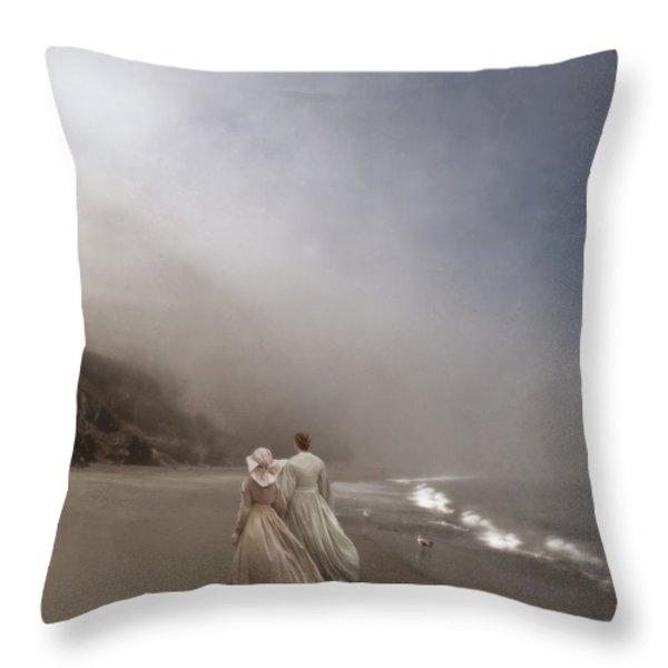 Strolling On The Beach Throw Pillow by Jill Battaglia