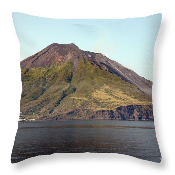 Stromboli Volcano, Aeolian Islands Throw Pillow by Richard Roscoe