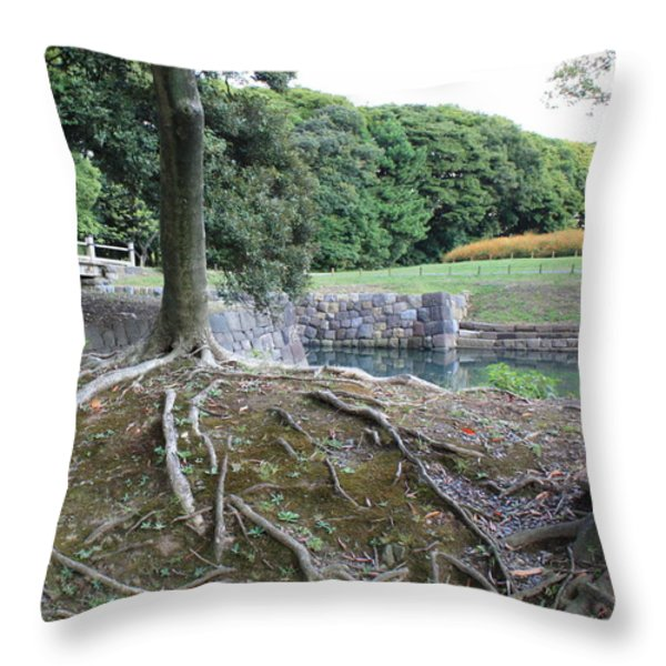 Strong Roots in Japan Throw Pillow by Carol Groenen