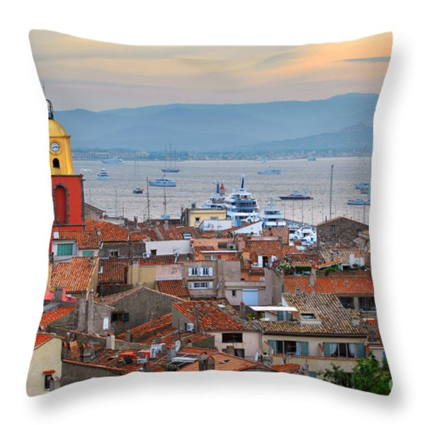 St.Tropez at sunset Throw Pillow by Elena Elisseeva