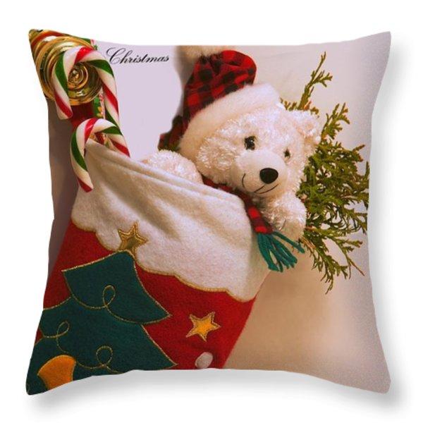 Stuffed Christmas Stocking Throw Pillow by Carson Ganci