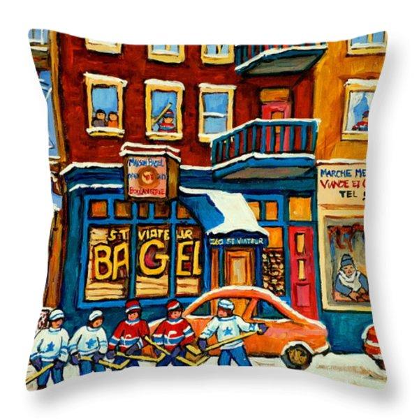 ST.VIATEUR BAGEL HOCKEY MONTREAL Throw Pillow by CAROLE SPANDAU