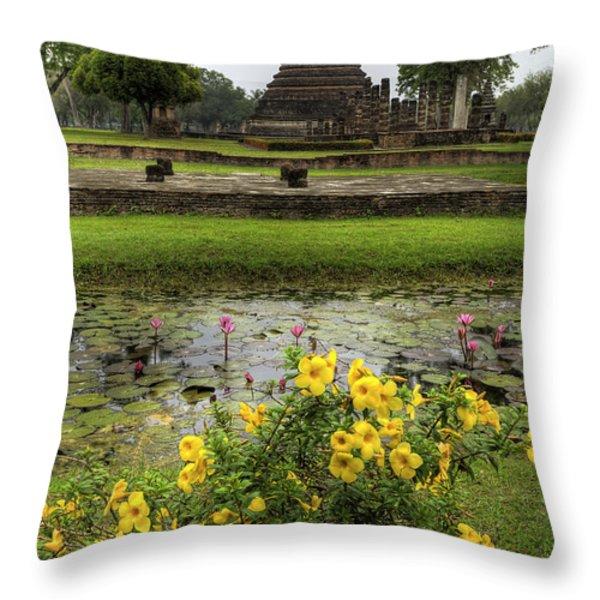 Sukhothai Historical Park Throw Pillow by Adrian Evans