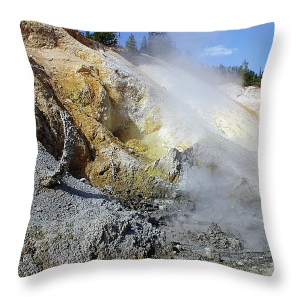 Sulphur Works - Lassen Volcanic National Park Throw Pillow by Christine Till