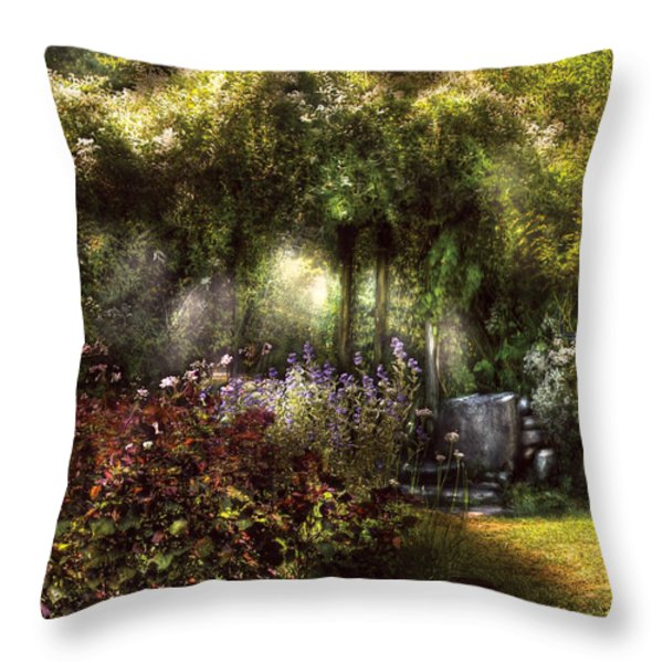 Summer - Landscape - Eve's Garden Throw Pillow by Mike Savad
