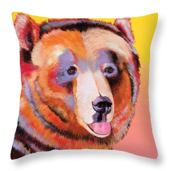 Summer Bear Throw Pillow by Bob Coonts
