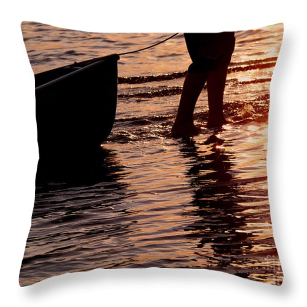 Summer Days - Canoeing At Sunset Throw Pillow by Angie Rea