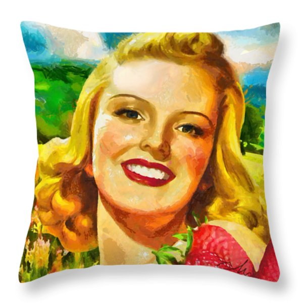 Summer Girl Throw Pillow by Mo T