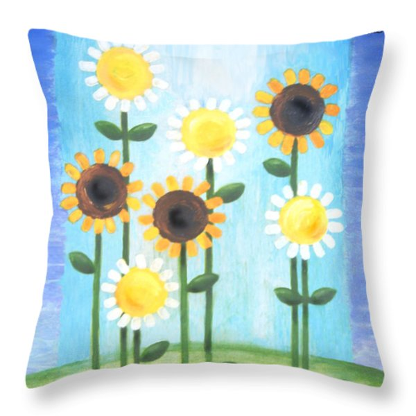 Summer Love Daisies Throw Pillow by Renee Womack