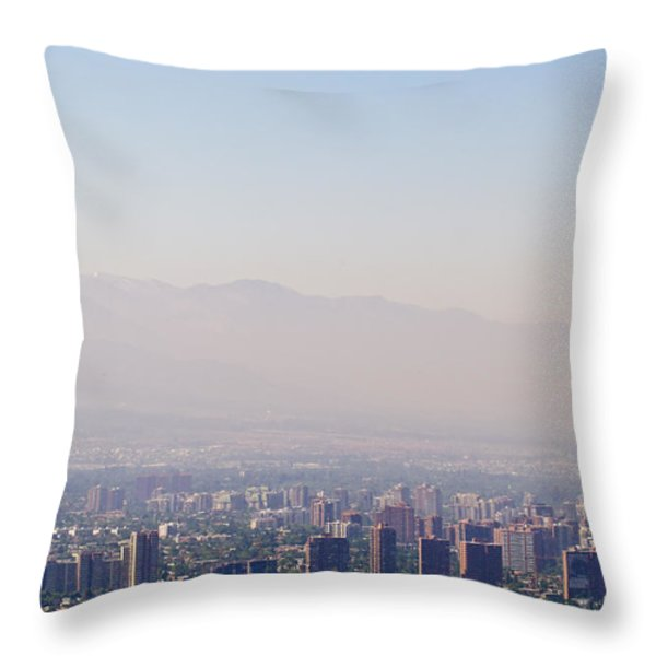 Summer Smog And Pollution In Santiagos Throw Pillow by Jason Edwards