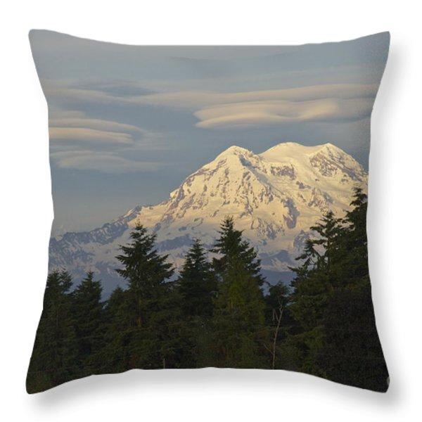 Summer Solstice - Mount Rainier Throw Pillow by Sean Griffin
