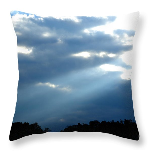 Sun Breaks Through Stormy Sky Throw Pillow by Thomas R Fletcher