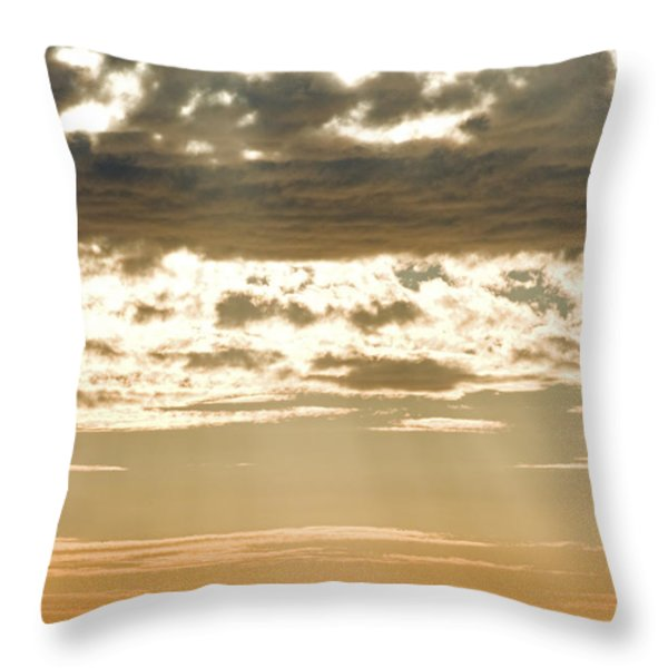 Sun Rays And Clouds Over Santa Cruz Throw Pillow by Rich Reid