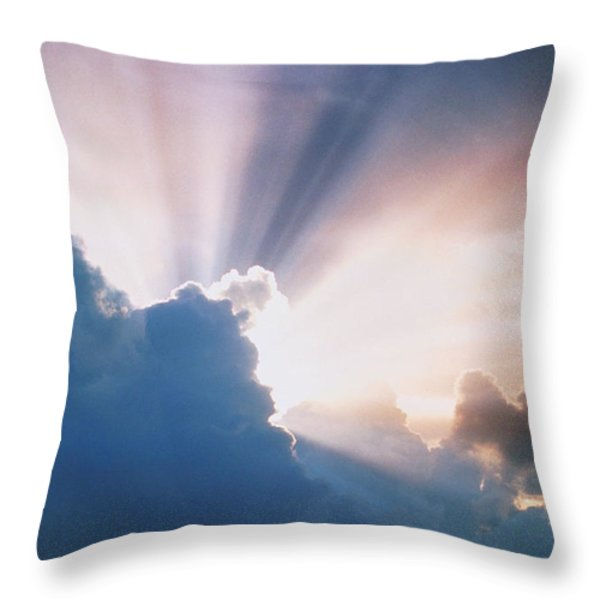 Sun Rays Throw Pillow by Erich Schrempp and Photo Researchers