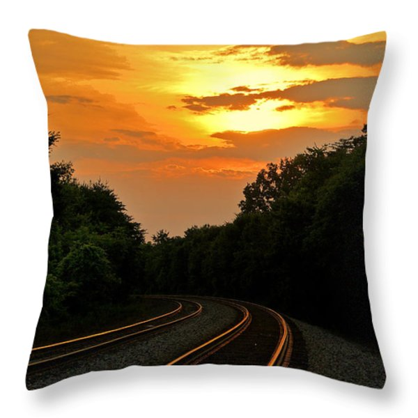 Sun Reflecting On Tracks Throw Pillow by Benanne Stiens