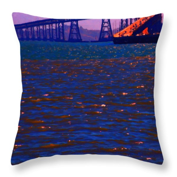 Sun Setting Beyond The Richmond-San Rafael Bridge - California - 5D18435 Throw Pillow by Wingsdomain Art and Photography
