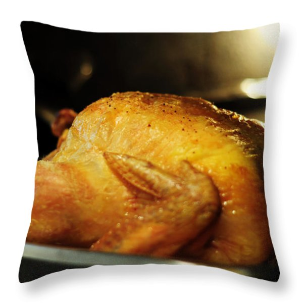 Sunday Chicken Throw Pillow by Rebecca Sherman
