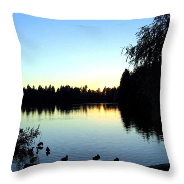 Sundown At Lost Lagoon Throw Pillow by Will Borden