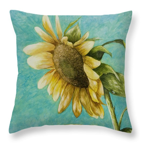 Sunflower Number One Throw Pillow by Mary Ann King