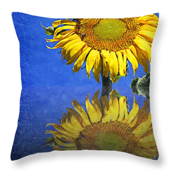Sunflower Reflection Throw Pillow by Andee Design