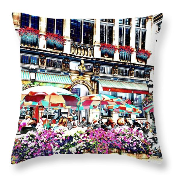 Sunny Day On The Grand Place Throw Pillow by Carol Groenen