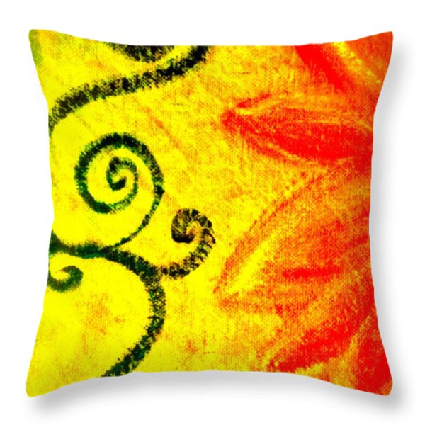 Sunny Day Red Throw Pillow by Gwyn Newcombe