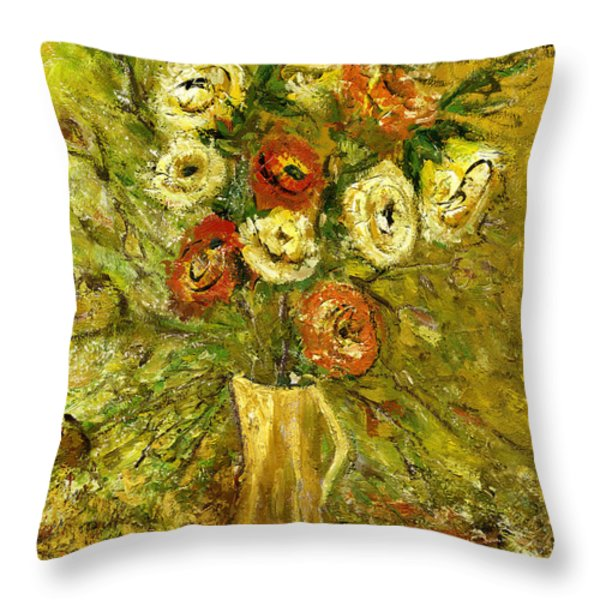 Sunny Flowers In Yellow Vase Throw Pillow by Rachel Hershkovitz
