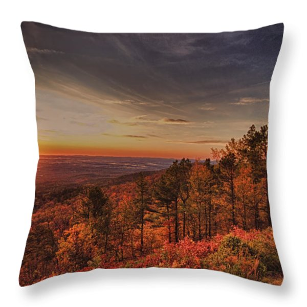 Sunrise 2-Talimena Scenic Drive Arkansas Throw Pillow by Douglas Barnard