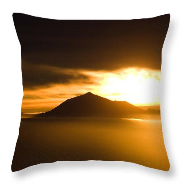 sunrise behind Mount Teide Throw Pillow by Ralf Kaiser