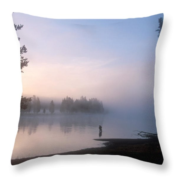 Sunrise Fishing In The Yellowstone River Throw Pillow by Michael S. Lewis