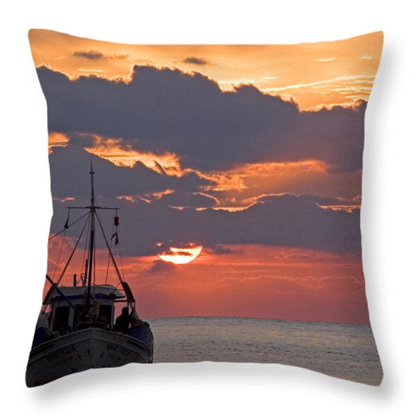Sunrise In Crete Throw Pillow by Max Waugh