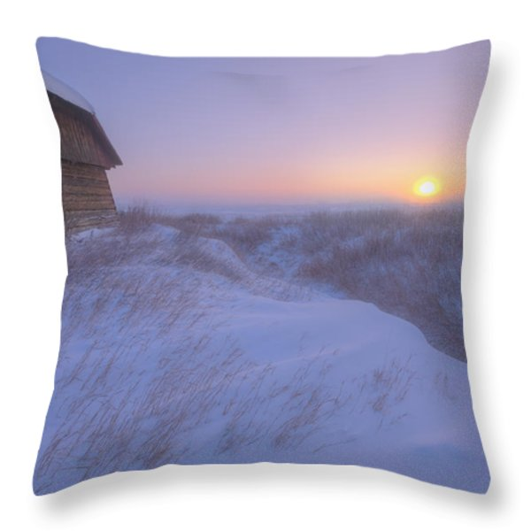 Sunrise On Abandoned, Snow-covered Throw Pillow by Dan Jurak
