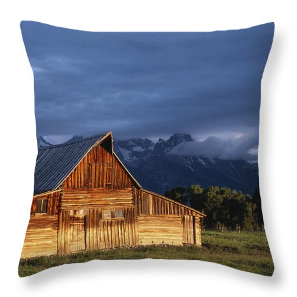 Sunrise On Old Wooden Barn On Farm Throw Pillow by Axiom Photographic