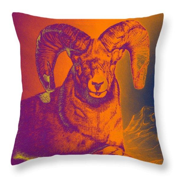 Sunrise Ram Throw Pillow by Mayhem Mediums