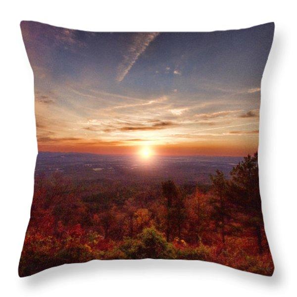Sunrise-Talimena Scenic Drive Arkansas Throw Pillow by Douglas Barnard