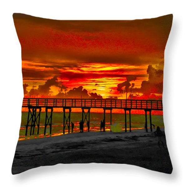 Sunset 4th Of July Throw Pillow by Bill Cannon