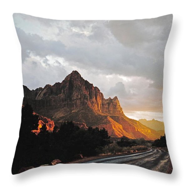 Sunset After The Storm In The Canyon Throw Pillow by Byron Varvarigos