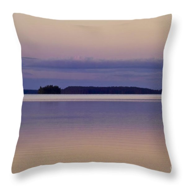 Sunset at Lake Muojaervi Throw Pillow by Heiko Koehrer-Wagner
