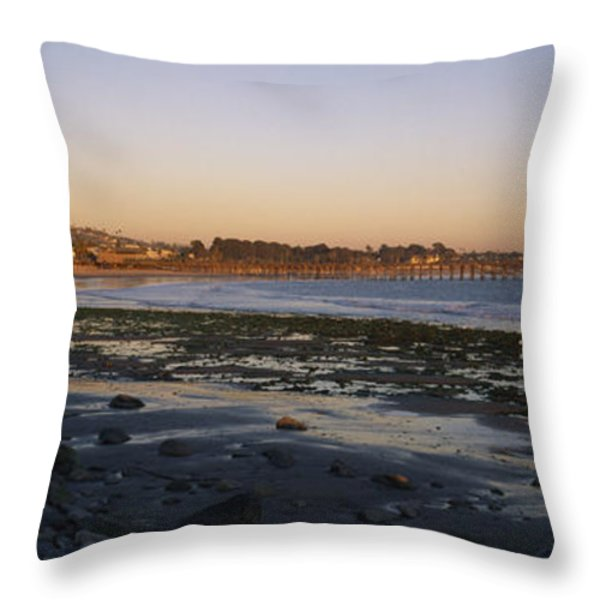 Sunset At Low Tide On Ventura Beach Throw Pillow by Rich Reid