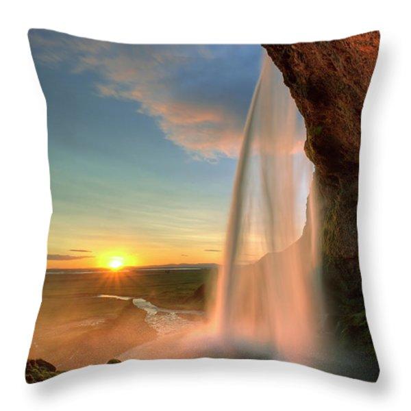 Sunset At Seljalandsfoss Throw Pillow by Peter OReilly