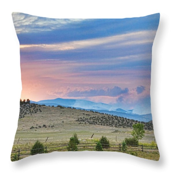 Sunset at the Colorado High Park Wildfire  Throw Pillow by James BO  Insogna