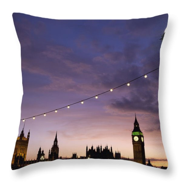 Sunset Behind Big Ben And The Houses Throw Pillow by Axiom Photographic