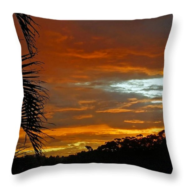 Sunset Behind The Palms Throw Pillow by Kaye Menner