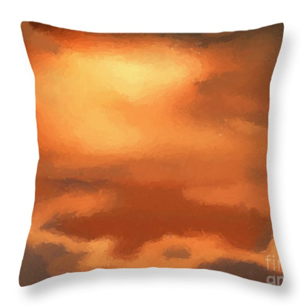 Sunset clouds Throw Pillow by Pixel Chimp