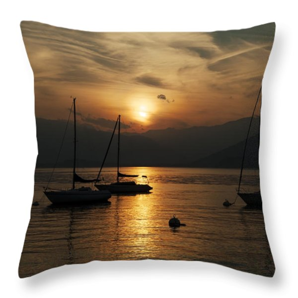 Sunset Lake Maggiore Throw Pillow by Joana Kruse