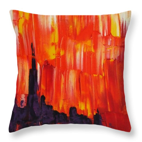 Sunset Of Melting Waterfall Behind Chicago Skyline Or Storm Reflecting Architecture And Buildings Throw Pillow by M Zimmerman MendyZ