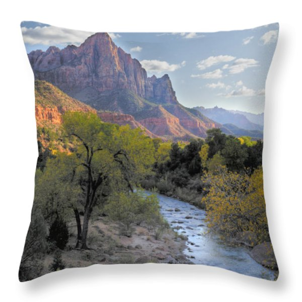Sunset On The Watchman Throw Pillow by Sandra Bronstein