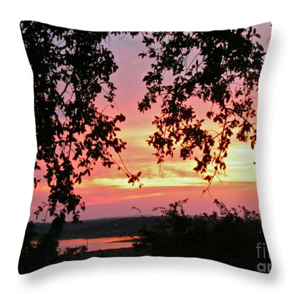 Sunset over Canyon Lake Throw Pillow by Randi Shenkman