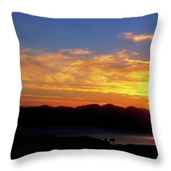 Sunset over Lake Champlain from Mount Philo Throw Pillow by John Burk